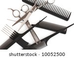 set of combs and scissors, hairstyle accessories - stock photo