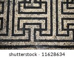 A Roman mosaic  from Bignor Roman Villa Sussex England - stock photo