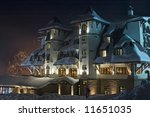 "Nightshot of snow-covered ski-resort hotel ""Termag"", Jahorina, Sarajevo, Bosnia - stock photo"
