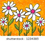Pop Daisies Illustration Painting on Yellow Background - stock photo