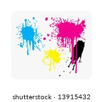 Color vector image of paint or ink blots; can used as background. - stock vector