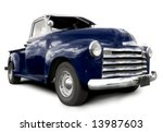 blue pick up truck - stock photo