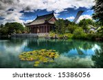 HDR image of the Chinese Garden of the Montreal Botanical Gardens - stock photo