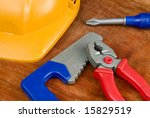 Set of tools on a table - stock photo