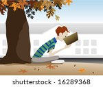 A boy reading a book under a tree in autumn. - stock vector