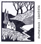 A lino-cut print in the art-deco style of 20th century woodcut bookplates. Hand-printed so expect imperfections. - stock photo