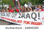 St. Paul - September 1:  Anti-war Protesters at the March on the National Republican Convention in St. Paul on September 1, 2008. - stock photo