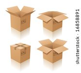 Vector illustration of cardboard boxes. Closed and open - stock vector