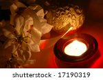 christmas decorations with a candle - stock photo