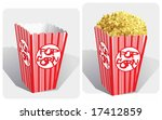 Color vector image of classic movie-theater popcorn box (full and empty). - stock vector