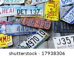 vintage license plates - stock photo