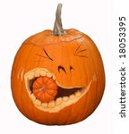 fun carved pumpkin with smaller pumpkin in mouth - stock photo