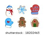 A set of six Christmas cookies : gingerbread man, gingerbread house, snowflake, snowman, two gloves. VECTOR. - stock vector
