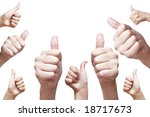 nine hand thumbs up - stock photo