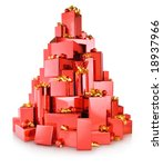 pile of red gift boxes in the shape of tree - stock photo