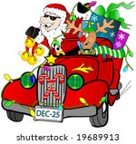 Santa and Rudolf in a hot rod car with gifts. - stock vector