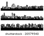 Three Black and white panorama cities - illustration - stock vector