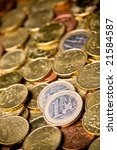 Pile of Euro money coins - stock photo