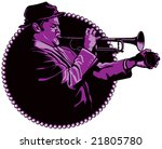 jazz trumpeter - stock vector