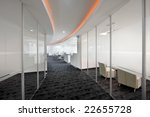 Modern office interior, corridor - stock photo