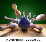A fun 3d render of a bowling ball crashing into the pins. Extreme perspective, depth of field focus on the ball. - stock photo