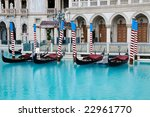 Gondolas at Venetian Hotel in Las Vegas - stock photo