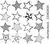 Star shaped doodles in hand-drawn style. Line art - not solid. - stock vector