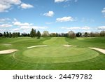 beautiful golf course landscape - stock photo