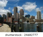 Beautiful shot of the Boston skyline - stock photo