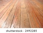 wooden floor closeup, perspective view - stock photo