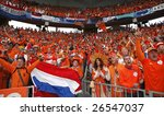 BERN, SWITZERLAND - JUNE 13:  Supporters cheer after a Holland goal during the Netherlands' 4-1 rout of France in a UEFA Euro 2008 Group C match June 13, 2008 in Bern, Switzerland. - stock photo