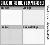 DIN A3 metric line and graph grid set - stock vector
