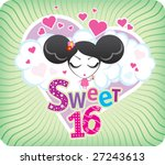 Vector Sweet Sixteen greeting card - stock vector