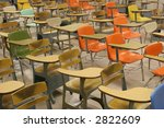 Colorful Student Desks - stock photo