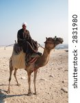 Arabian Bedouin riding a camel near Great Pyramids in Giza, Cairo, Egypt - editorial - stock photo