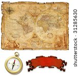 An old ancient map with compass - stock photo