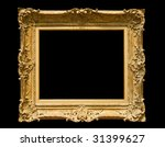 Golden classic picture frame - isolated on black background - stock photo