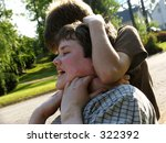 young teen boys fighting - stock photo