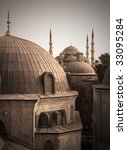Domes of two greatest Istanbul Mosques (Sultanahmet and Haghia Sofya), vintage - stock photo