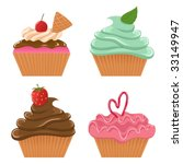 Vector set of cupcakes - stock vector