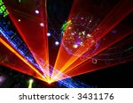 Fantastic Orange Laser Show at the Disco Party night - stock photo