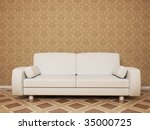 3d Render Of Empty Room With Sofa - More Variations In My Portfolio - stock photo