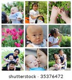 family series photos: Asian children and their parents in park - stock photo