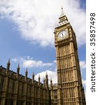 Big Ben Clock Tower of the Palace of Westminster, London, UK - stock photo
