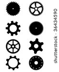 Collection of black gears. White background. Vector editable file available - stock vector