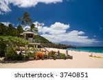 The lifeguard tower at Waimea Beach - stock photo