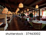 Modern High Class Luxury restaurant and cafe  interior - stock photo