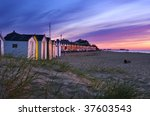 Southwold Beach at Sunrise - stock photo