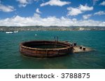 Remains of the  U.S.S. Arizona in Pearl Harbor, Hawaii - stock photo