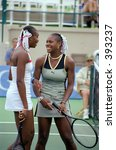 Venus and Serena Williams at 1999 TIG Tennis Classic - stock photo